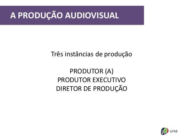 Três instâncias de produção PRODUTOR (A) PRODUTOR EXECUTIVO DIRETOR DE PRODUÇÃO A PRODUÇÃO AUDIOVISUAL