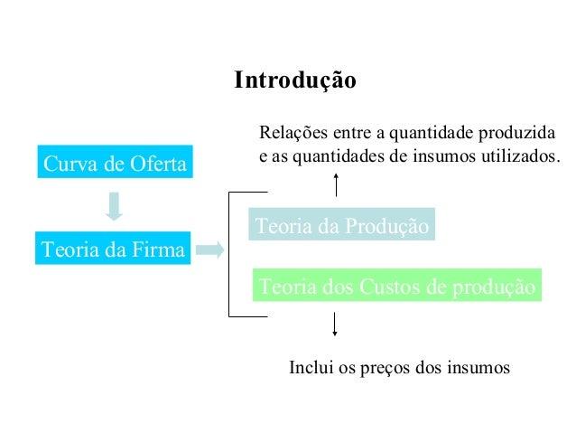 Introdução Teoria da Firma Curva de Oferta Teoria da Produção Teoria dos Custos de produção Inclui os preços dos insumos R...