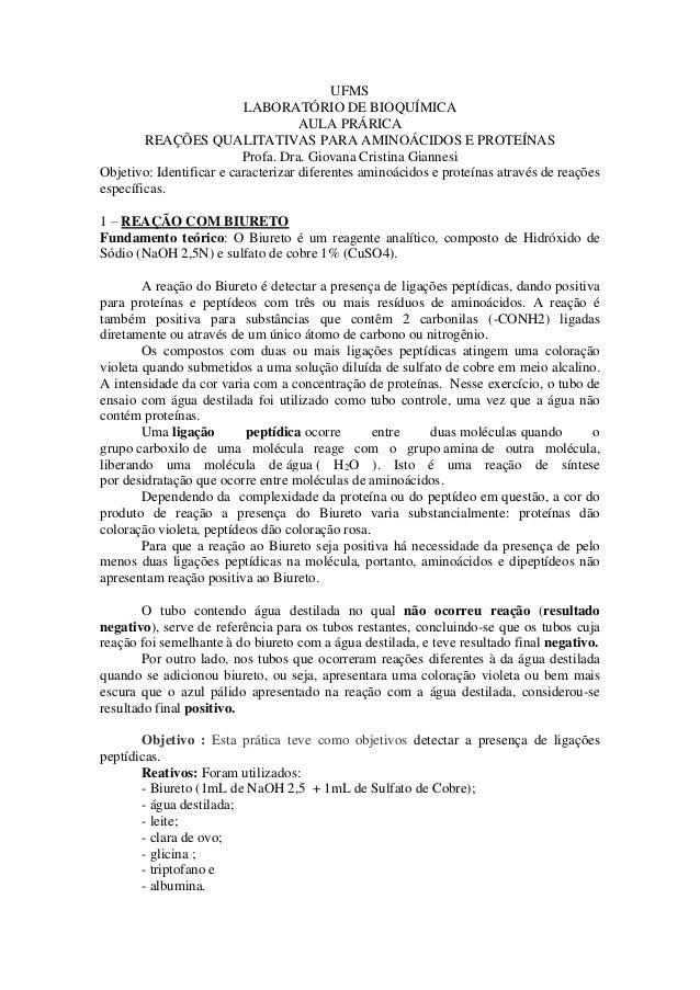UFMS LABORATÓRIO DE BIOQUÍMICA AULA PRÁRICA REAÇÕES QUALITATIVAS PARA AMINOÁCIDOS E PROTEÍNAS Profa. Dra. Giovana Cristina...