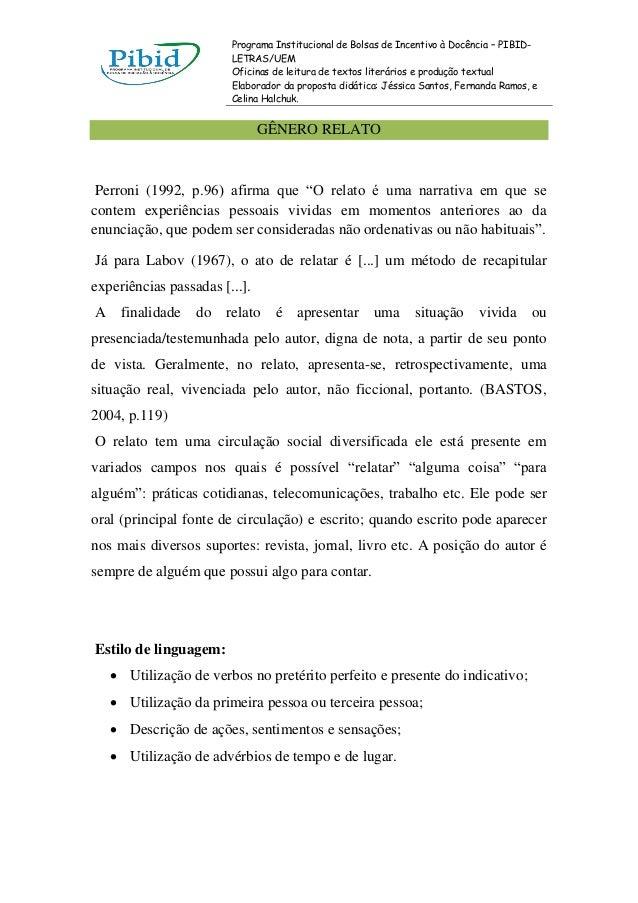 Programa Institucional de Bolsas de Incentivo à Docência – PIBID-                        LETRAS/UEM                       ...