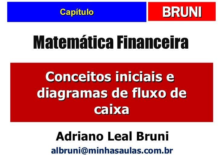 Capítulo Conceitos iniciais e  diagramas de fluxo de caixa Matemática Financeira Adriano Leal Bruni [email_address]