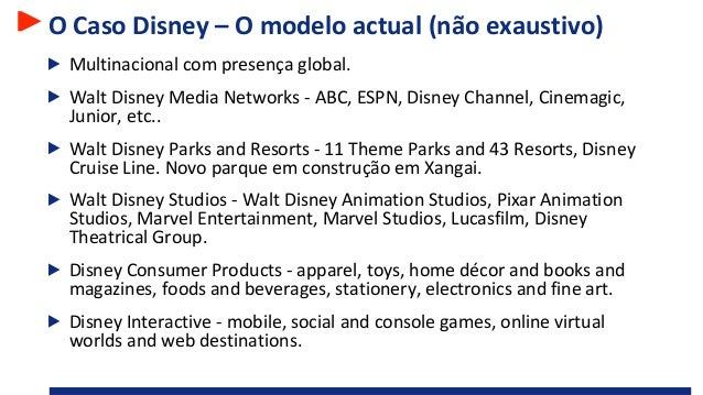 O Caso Disney – O modelo actual (não exaustivo) Multinacional com presença global. Walt Disney Media Networks - ABC, ESPN,...