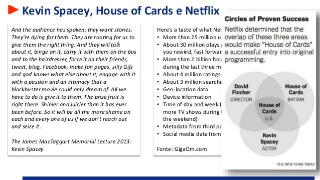 Kevin Spacey, House of Cards e Netflix And the audience has spoken: they want stories. They're dying for them. They are ro...