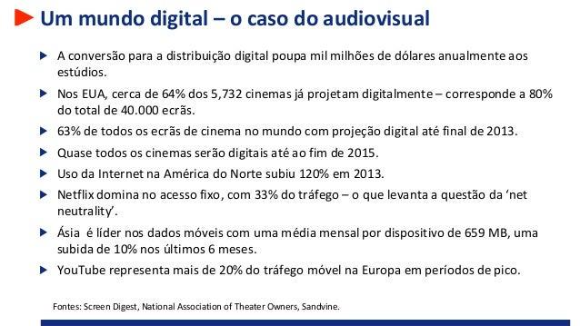 Um mundo digital – o caso do audiovisual A conversão para a distribuição digital poupa mil milhões de dólares anualmente a...