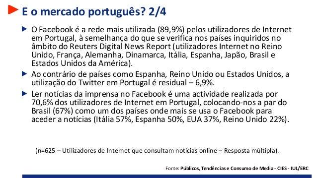 E o mercado português? 2/4 O Facebook é a rede mais utilizada (89,9%) pelos utilizadores de Internet em Portugal, à semelh...