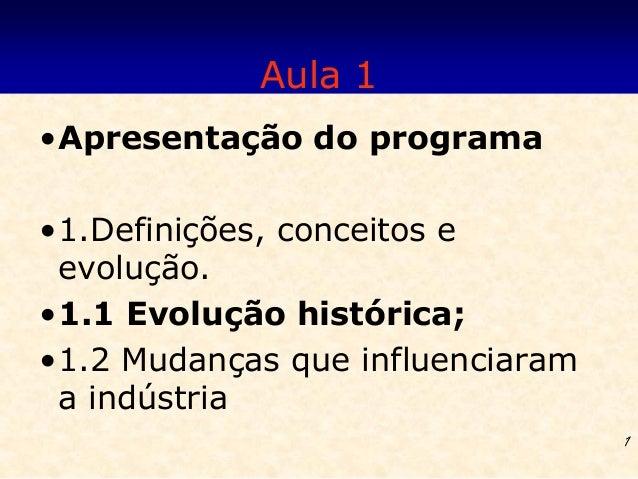 Aula 1•Apresentação do programa•1.Definições, conceitos e evolução.•1.1 Evolução histórica;•1.2 Mudanças que influenciaram...