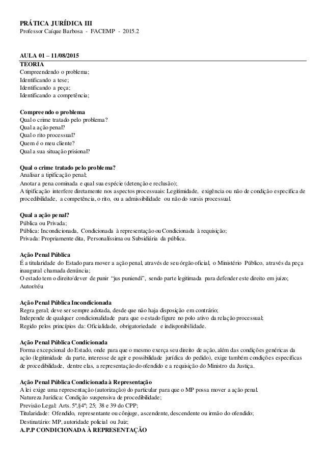 PRÁTICA JURÍDICA III Professor Caíque Barbosa - FACEMP - 2015.2 AULA 01 – 11/08/2015 TEORIA Compreendendo o problema; Iden...