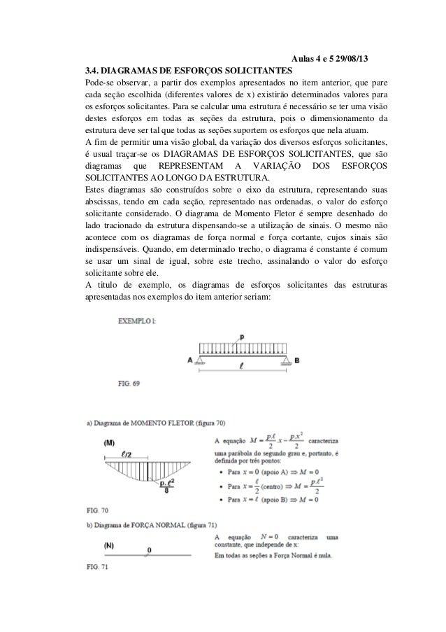 Aulas 4 e 5 29/08/13 3.4. DIAGRAMAS DE ESFORÇOS SOLICITANTES Pode-se observar, a partir dos exemplos apresentados no item ...
