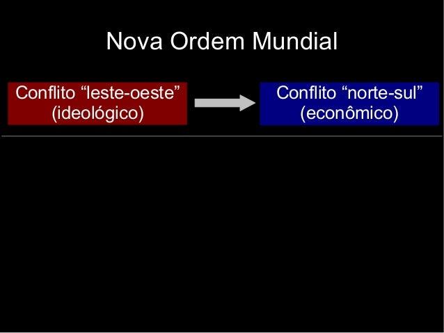 """Nova Ordem Mundial Conflito """"leste-oeste"""" (ideológico) Conflito """"norte-sul"""" (econômico)"""