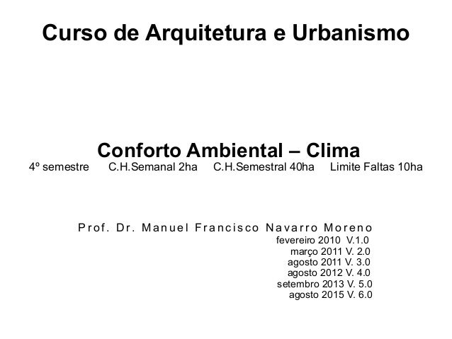 Curso de Arquitetura e Urbanismo Conforto Ambiental – Clima 4º semestre C.H.Semanal 2ha C.H.Semestral 40ha Limite Faltas 1...