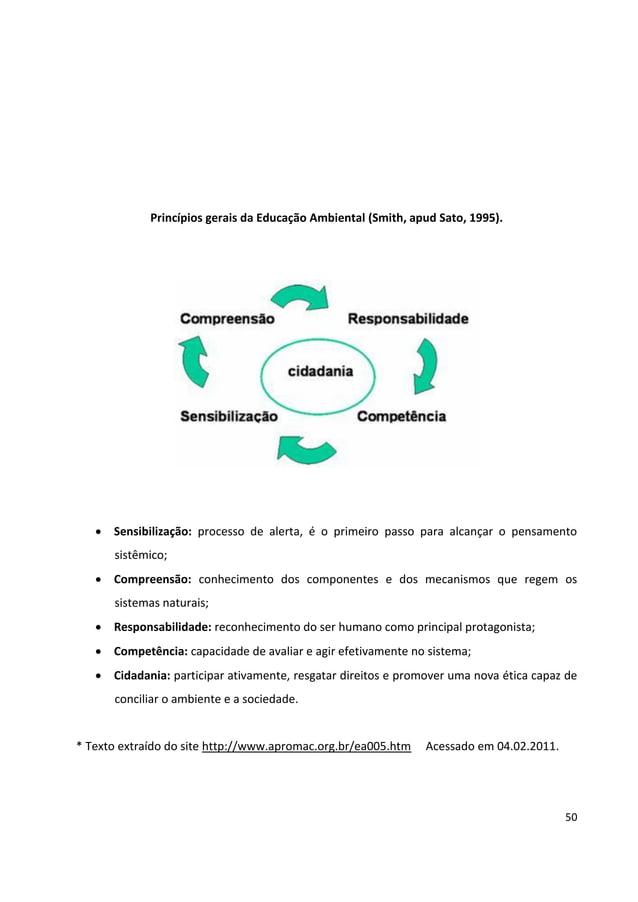50 Princípios gerais da Educação Ambiental (Smith, apud Sato, 1995).  Sensibilização: processo de alerta, é o primeiro pa...
