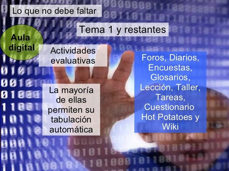 Lo que no debe faltar Aula  digital Tema 1 y restantes La mayoría de ellas permiten su tabulación automática Actividades e...