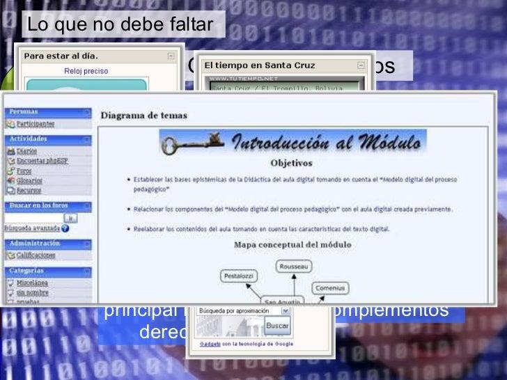 Lo que no debe faltar Aula  digital Otros complementos Enlaces a otros sitios, como Blogs, Wikis, Flickr Canales de notici...