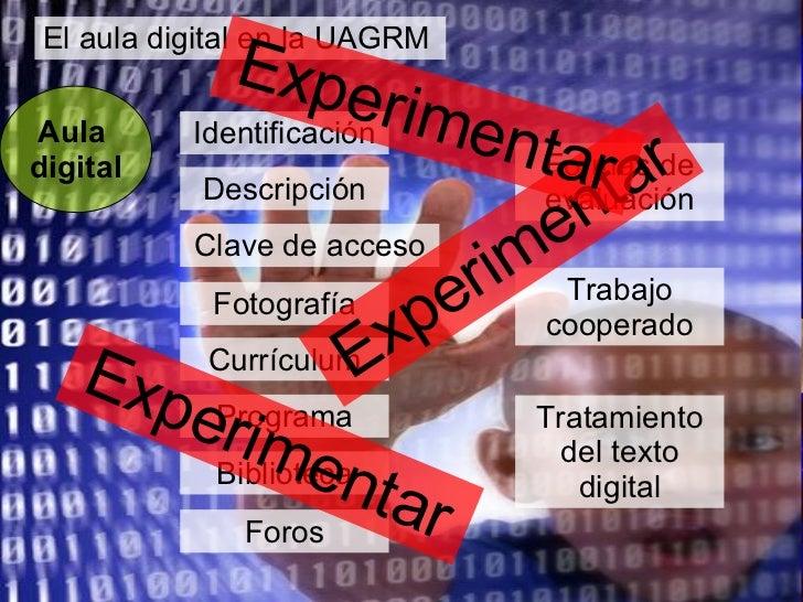 El aula digital en la UAGRM Aula  digital Identificación Descripción Clave de acceso Fotografía Currículum Programa Biblio...