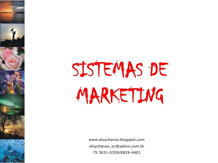 SISTEMAS DE  MARKETING  www.eloychaves.blogspot.com  eloychaves_ec@yahoo.com.br   75 3631-5359/8829-4401