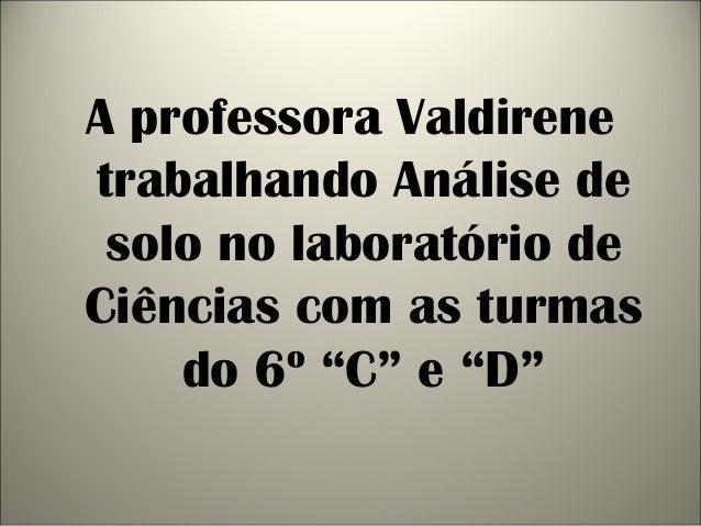 """A professora Valdirenetrabalhando Análise desolo no laboratório deCiências com as turmasdo 6º """"C"""" e """"D"""""""