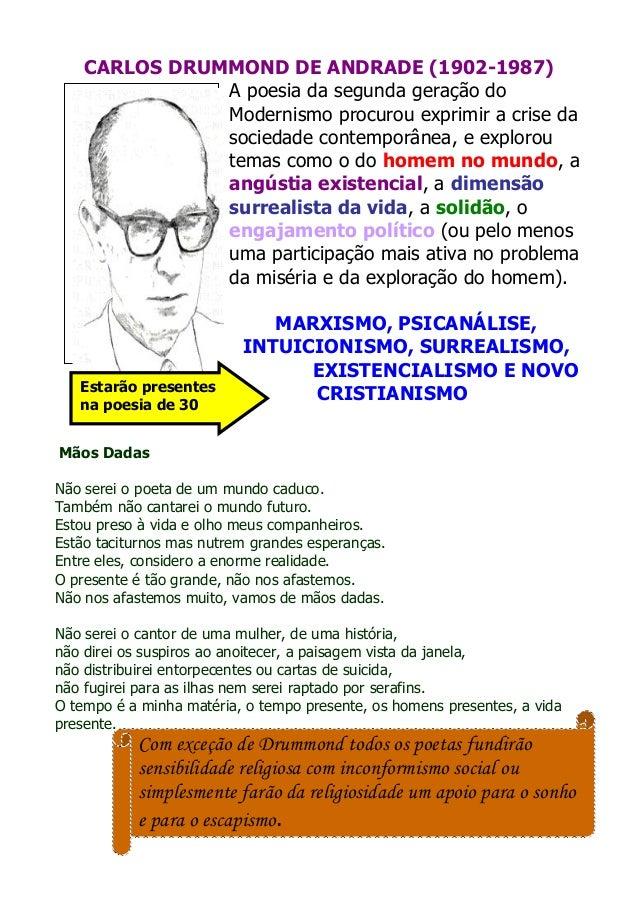 CARLOS DRUMMOND DE ANDRADE (1902-1987) A poesia da segunda geração do Modernismo procurou exprimir a crise da sociedade co...