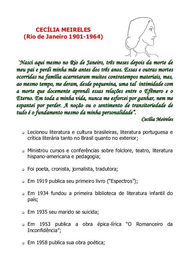 """CECÍLIA MEIRELES (Rio de Janeiro 1901-1964)  """"Nasci aqui mesmo no Rio de Janeiro, três meses depois da morte de meu pai e ..."""