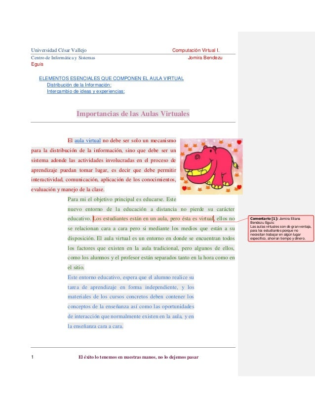 Universidad César Vallejo Centro de Informática y Sistemas Eguis  Computación Virtual I. Jomira Bendezu  ELEMENTOS ESENCIA...