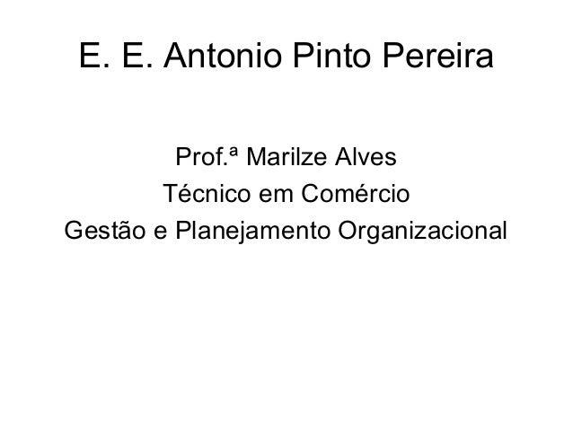 E. E. Antonio Pinto Pereira         Prof.ª Marilze Alves        Técnico em ComércioGestão e Planejamento Organizacional