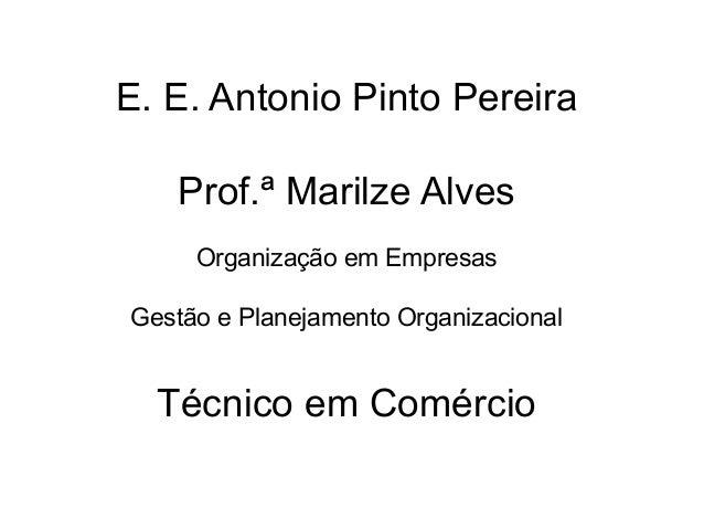 E. E. Antonio Pinto Pereira   Prof.ª Marilze Alves     Organização em EmpresasGestão e Planejamento Organizacional  Técnic...