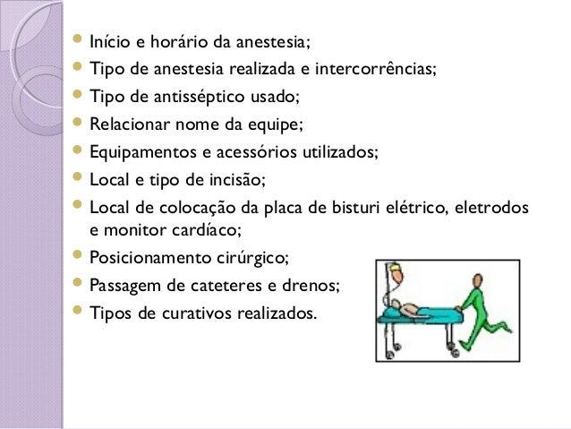 Início e horário da anestesia;  Tipo de anestesia realizada e intercorrências;  Tipo de antisséptico usado;  Relacion...