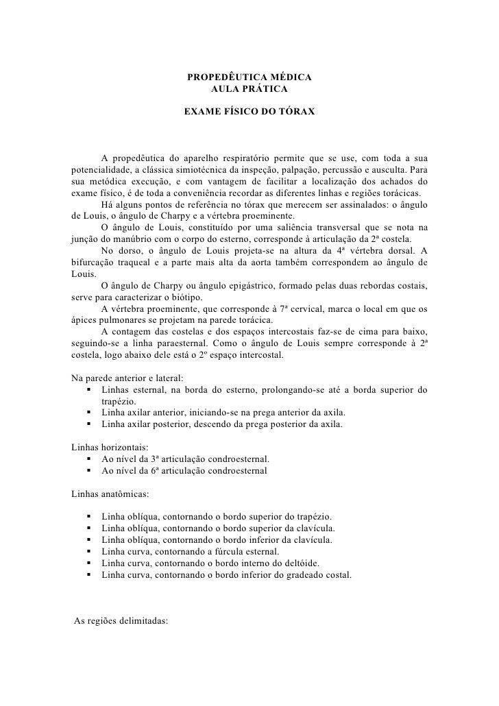 PROPEDÊUTICA MÉDICA                               AULA PRÁTICA                            EXAME FÍSICO DO TÓRAX        A p...