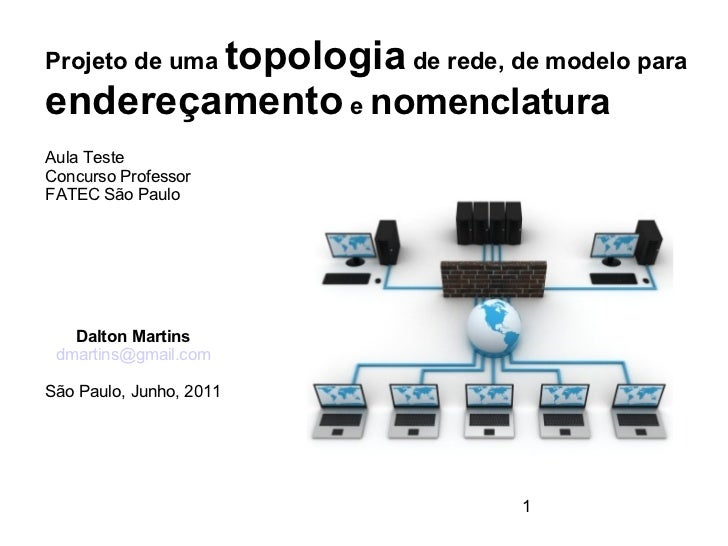 topologia de rede, de modelo paraProjeto de umaendereçamento e nomenclaturaAula TesteConcurso ProfessorFATEC São Paulo   D...