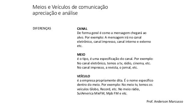 Características de Meios e Veículos de Comunicação Slide 3