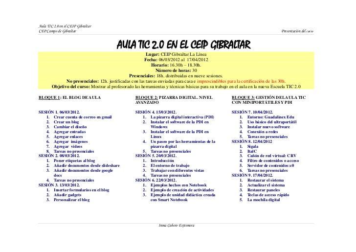 Aula TIC 2.0 en el CEIP GibraltarCEP Campo de Gibraltar                                                                   ...