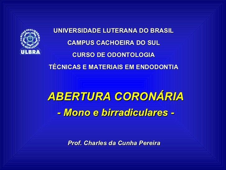 UNIVERSIDADE LUTERANA DO BRASIL CAMPUS CACHOEIRA DO SUL CURSO DE ODONTOLOGIA TÉCNICAS E MATERIAIS EM ENDODONTIA ABERTURA C...