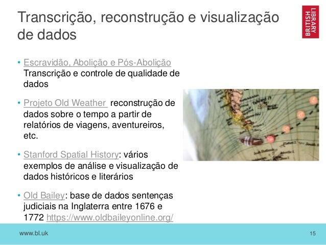 www.bl.uk 15 Transcrição, reconstrução e visualização de dados • Escravidão, Abolição e Pós-Abolição Transcrição e control...
