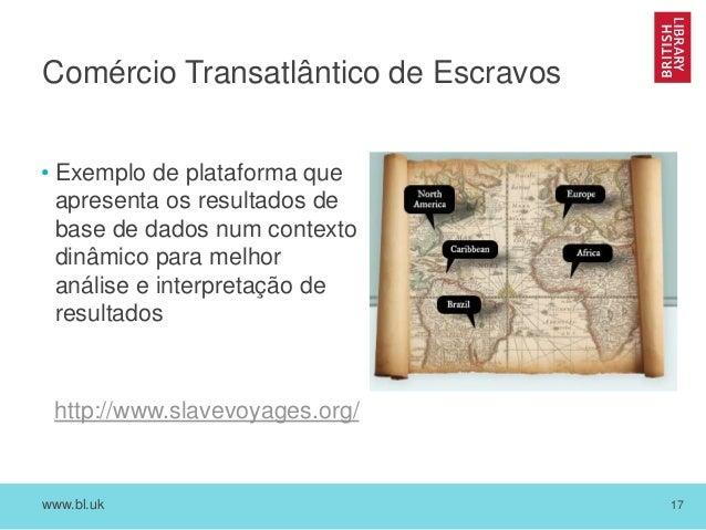 www.bl.uk 17 Comércio Transatlântico de Escravos • Exemplo de plataforma que apresenta os resultados de base de dados num ...