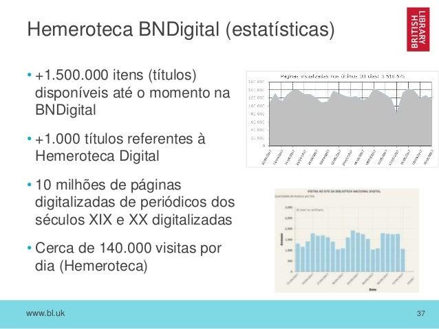 www.bl.uk 37 Hemeroteca BNDigital (estatísticas) • +1.500.000 itens (títulos) disponíveis até o momento na BNDigital • +1....
