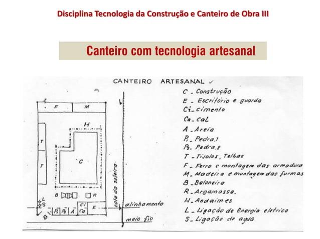 Disciplina Tecnologia da Construção e Canteiro de Obra III Canteiro com tecnologia artesanal