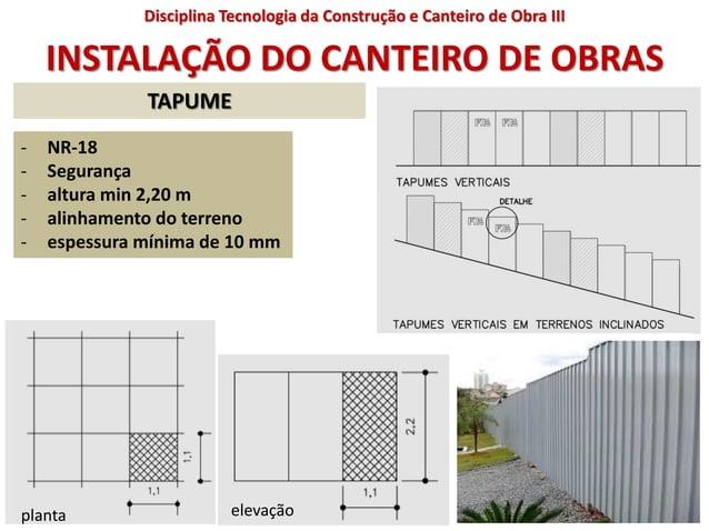 INSTALAÇÃO DO CANTEIRO DE OBRAS - NR-18 - Segurança - altura min 2,20 m - alinhamento do terreno - espessura mínima de 10 ...