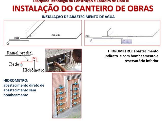 INSTALAÇÃO DO CANTEIRO DE OBRAS HIDROMETRO: abastecimento direto de abastecimento sem bombeamento HIDROMETRO: abasteciment...