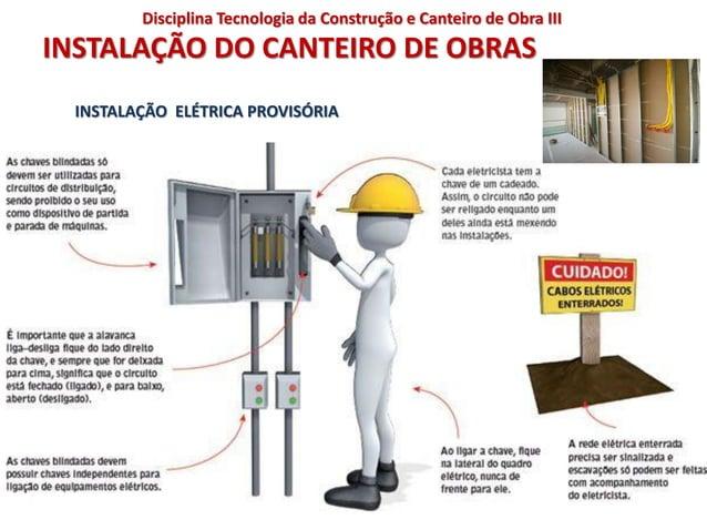 INSTALAÇÃO DO CANTEIRO DE OBRAS INSTALAÇÃO ELÉTRICA PROVISÓRIA Disciplina Tecnologia da Construção e Canteiro de Obra III