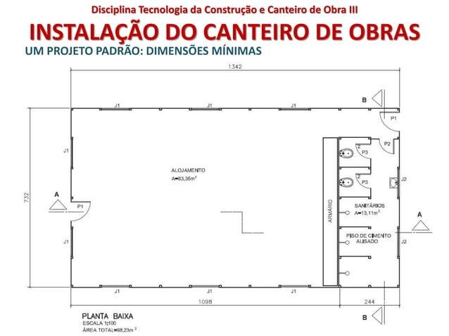 INSTALAÇÃO DO CANTEIRO DE OBRAS UM PROJETO PADRÃO: DIMENSÕES MÍNIMAS Disciplina Tecnologia da Construção e Canteiro de Obr...