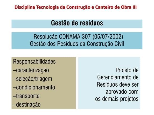 Gestão de resíduos Projeto de Gerenciamento de Resíduos deve ser aprovado com os demais projetos Responsabilidades –caract...