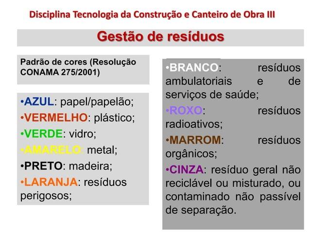 Gestão de resíduos Padrão de cores (Resolução CONAMA 275/2001) •BRANCO: resíduos ambulatoriais e de serviços de saúde; •RO...