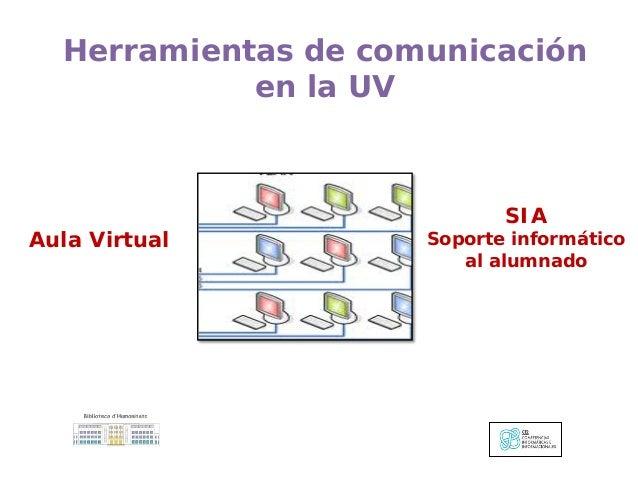 Aula Virtual Herramientas de comunicación en la UV SIA Soporte informático al alumnado