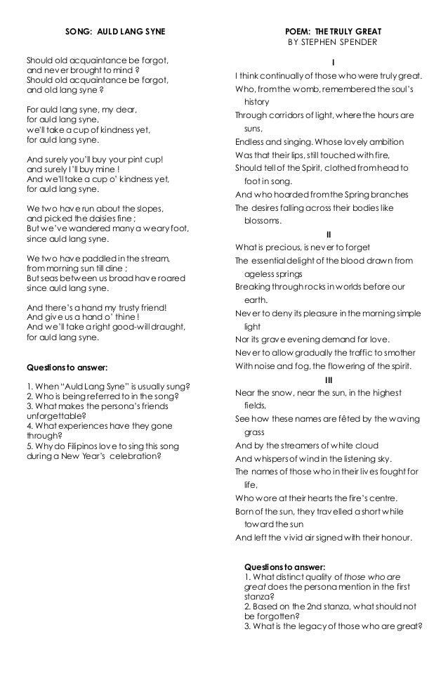 Lyric same old lang syne lyrics : Auld lang syne lyrics and Those Who Were Truly Great Poem
