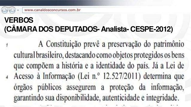 VERBOS (CÂMARADOS DEPUTADOS-Analista- CESPE-2012)