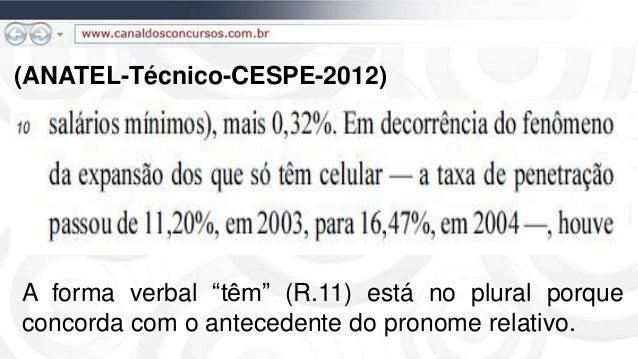 """(ANATEL-Técnico-CESPE-2012) A forma verbal """"têm"""" (R.11) está no plural porque concorda com o antecedente do pronome relati..."""