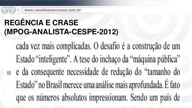 REGÊNCIA E CRASE (MPOG-ANALISTA-CESPE-2012)
