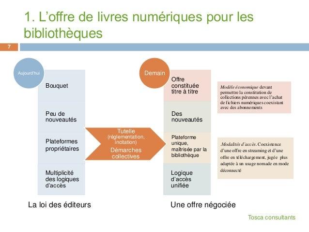 1. L'offre de livres numériques pour lesbibliothèques7BouquetPeu denouveautésPlateformespropriétairesMultiplicitédes logiq...