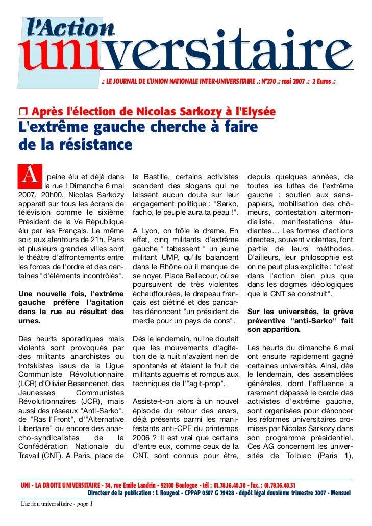 l'Actionuniversitaire                     .: LE JOURNAL DE L'UNION NATIONALE INTER-UNIVERSITAIRE .: N°270 .: mai 2007 .: 2...