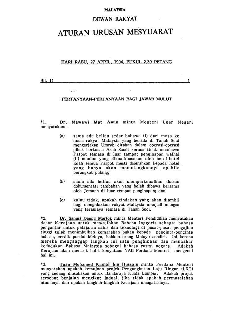 MALAYSIA                        DEWAN RAKYAT        ATURAN URUSAN MESYUARAT         HARI RABU. 27 APRIL. 1994. PUKUL 2.30 ...
