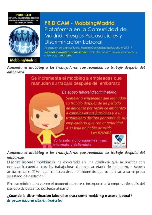 Aumenta el mobbing a las trabajadoras que reanudan su trabajo después del embarazo Aumenta el mobbing a las trabajadoras q...